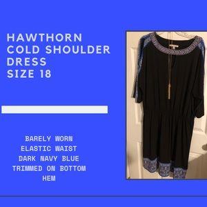 Hawthorn Cold Shoulder Dress - Size 18 Dark Blue